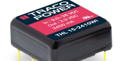 Traco 15W DC/DC converter is now available from RS Components