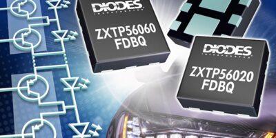 Two automotive transistors control matrix LED light clusters