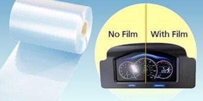 Anti-reflection, anti-glare film has automotive displays covered